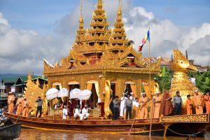 Phaung Daw Oo pagoda festival on Inlay lake Myanmar